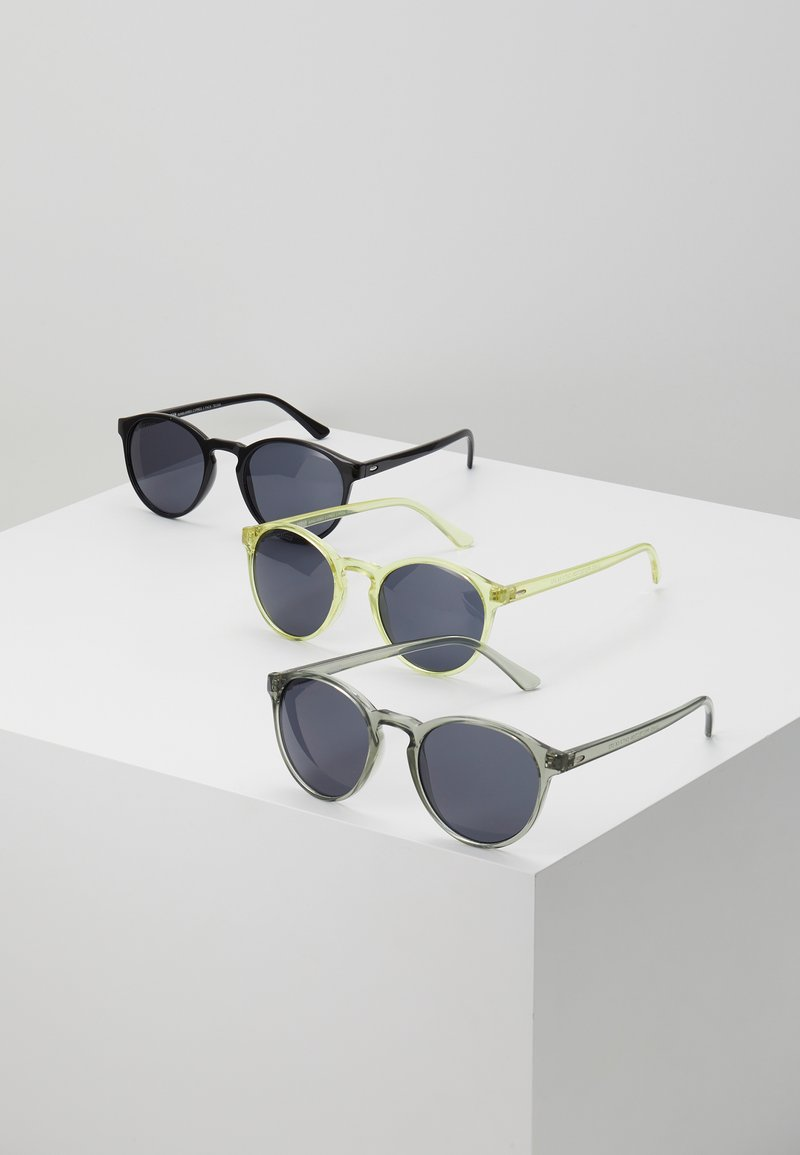 Urban Classics - SUNGLASSES CYPRES 3 PACK - Sunglasses - black/light grey/yellow