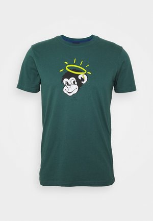 MENS SLIM FIT MONKEY HALO - Print T-shirt - dark green