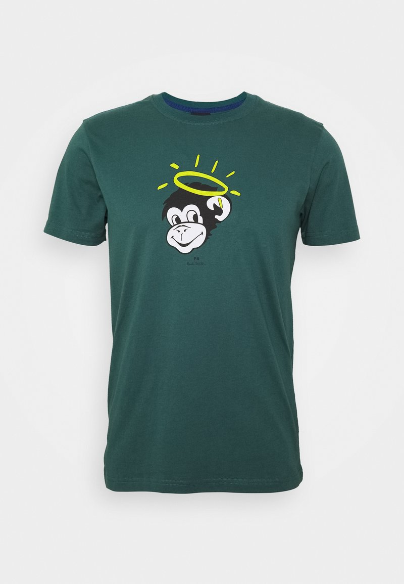 PS Paul Smith - MENS SLIM FIT MONKEY HALO - Print T-shirt - dark green