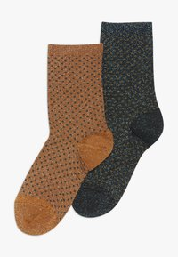 MP Denmark - NORA 2 PACK - Ponožky - dark honey/dark aqua green - 0