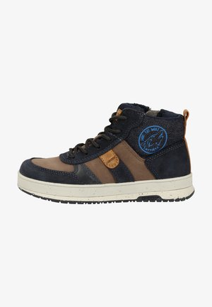 High-top trainers - coffee/navy