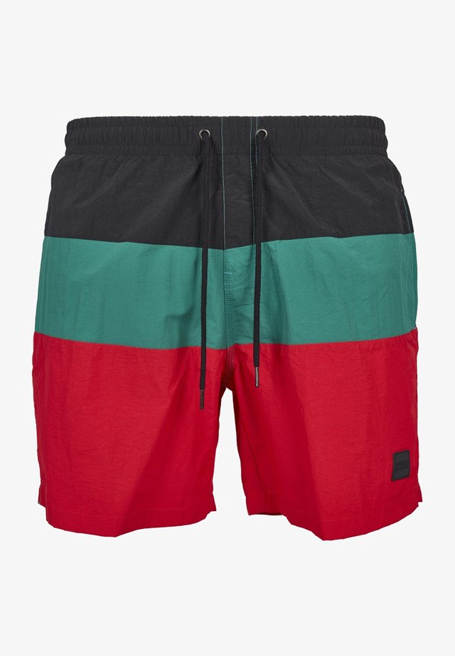 Swimming shorts - firered/black/green