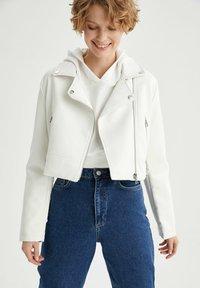 DeFacto - Faux leather jacket - white - 0