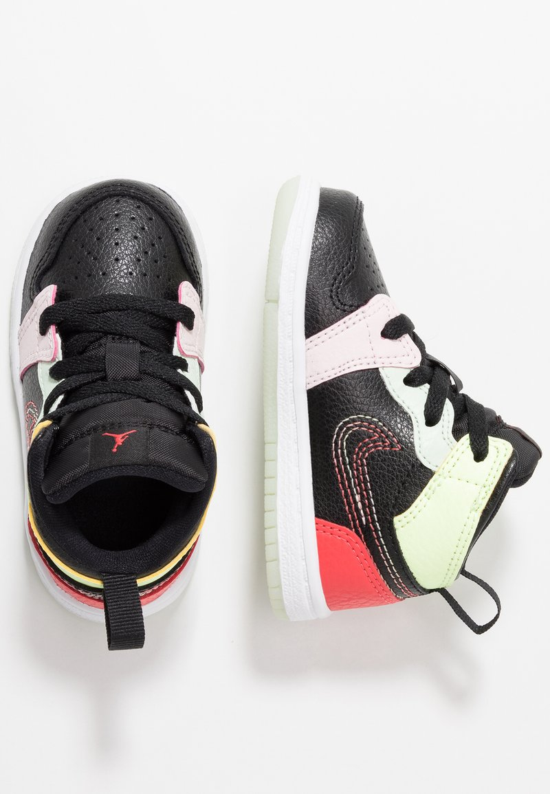 Jordan - 1 MID SE - Basketball shoes - black/ember glow/barely volt/light soft pink/jade aura