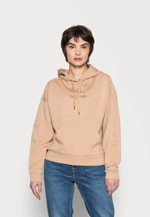 RELAXED GROSSGRAIN HOODIE - Sweatshirt - beige