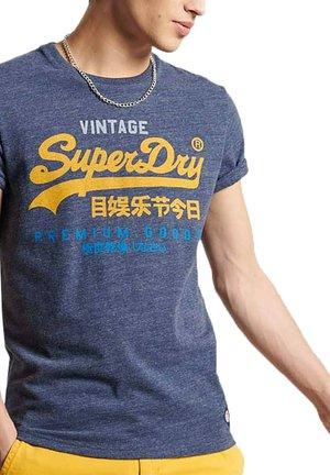 T-Shirt print - bleu marine chiné