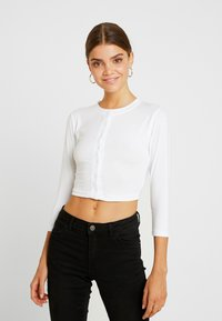 Missguided - BUTTON FRONT LONG SLEEVE CROP - Langærmede T-shirts - white - 0