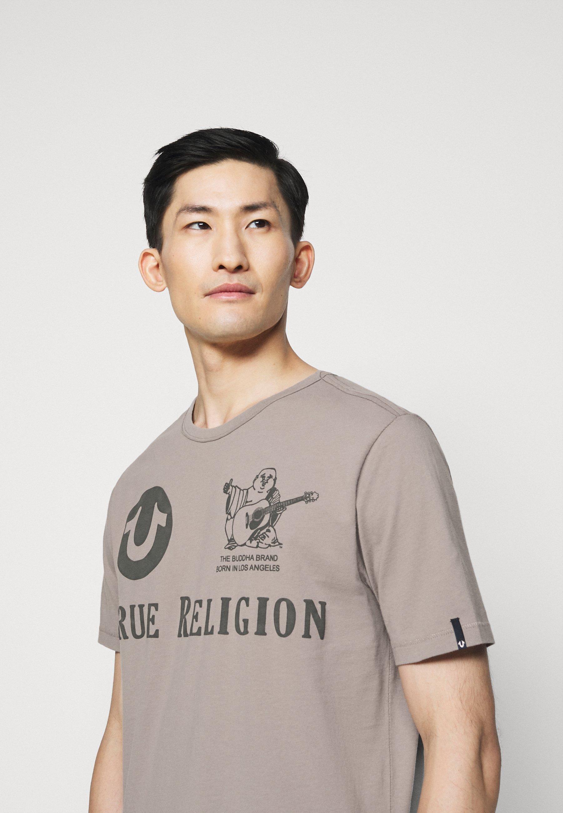 True Religion CREW ALLOVER LOGO  - Print T-shirt - grey 4O35W