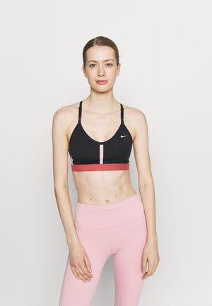 INDY BRA V NECK - Sujetadores deportivos con sujeción ligera - black/pink glaze/canyon rust/white