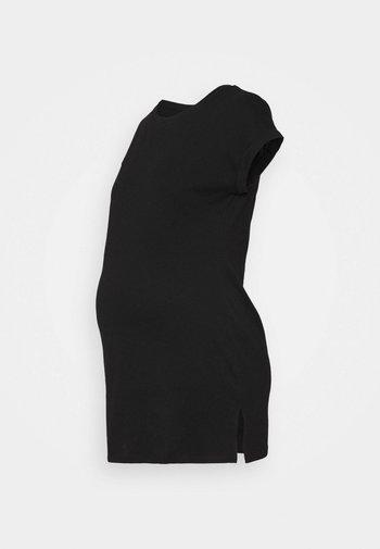 MATERNITY PLAIN LONGLINE TEE - T-shirt z nadrukiem - black