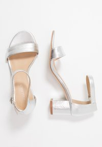 Anna Field - LEATHER HEELED SANDALS - Sandals - silver - 3