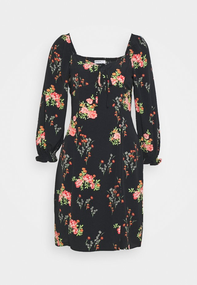 LADIES DRESS FLORAL MINI - Korte jurk - black/pink