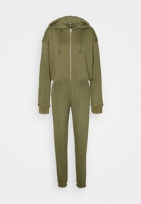 Missguided Tall - CROP ZIP HOODY JOGGER SET - Zip-up hoodie - khaki - 0