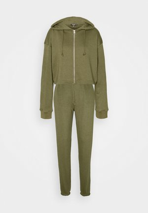 CROP ZIP HOODY JOGGER SET - Zip-up hoodie - khaki