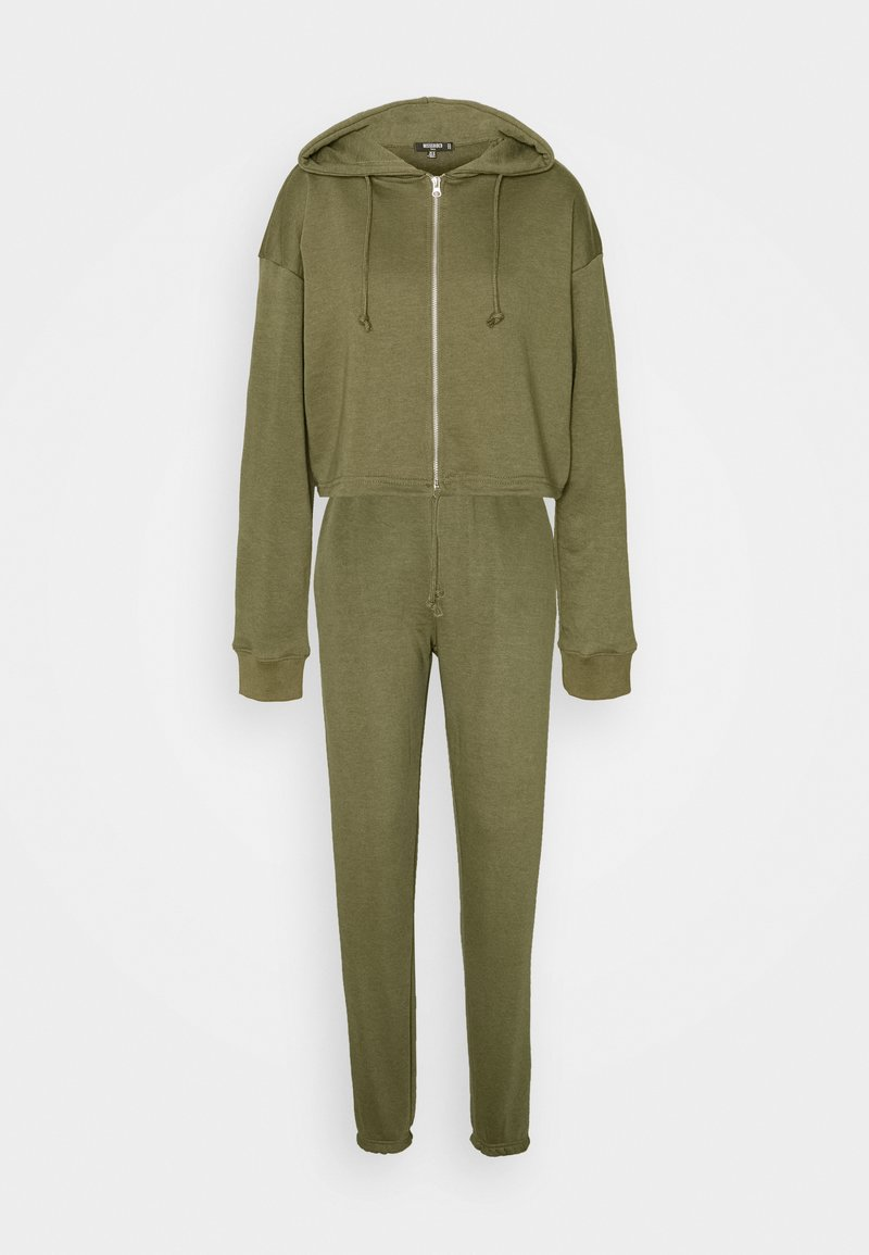 Missguided Tall - CROP ZIP HOODY JOGGER SET - Zip-up hoodie - khaki