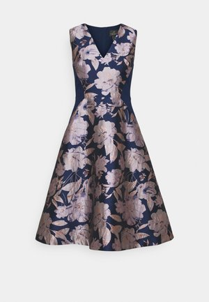 FLORAL COMBO DRESS - Cocktailjurk - navy/blush