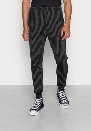 PONTE ELASTIC PANTS CROPPED - Tygbyxor - black white pin