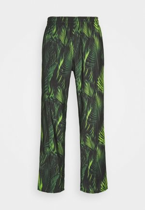 SPECIAL PIECES PANTS UNISEX - Trousers - black/green leaf