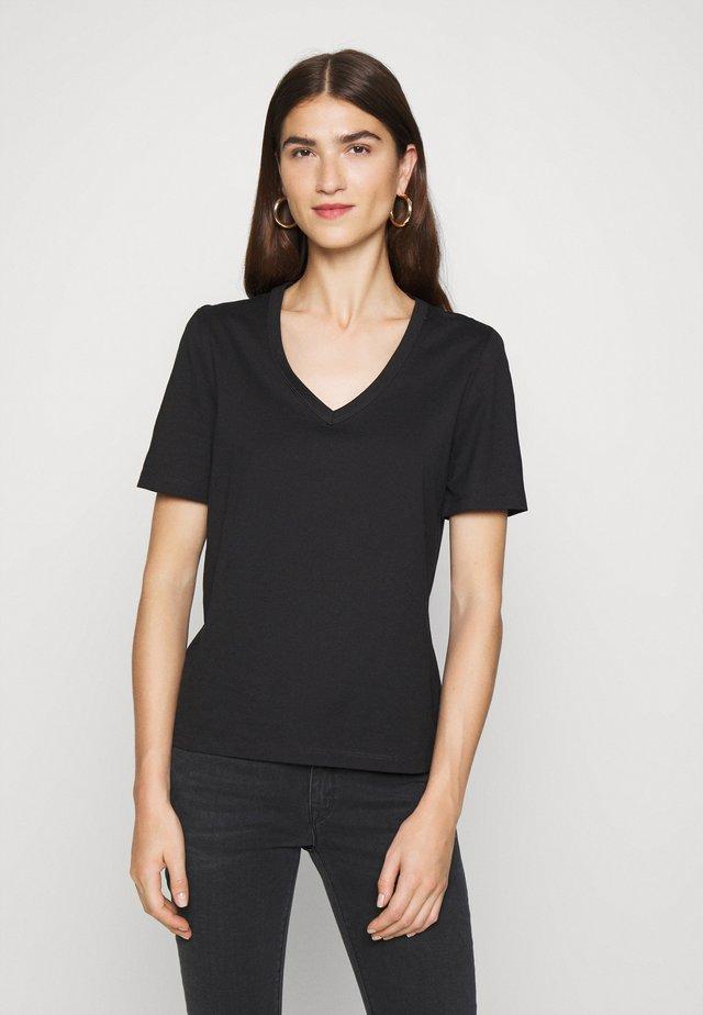 V NECK - T-shirt basic - black