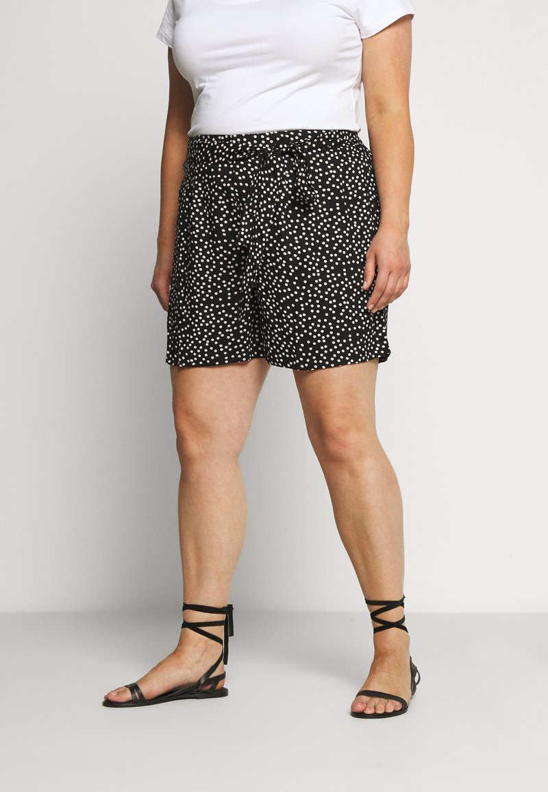 Dorothy Perkins Curve - TIE WAIST SPOT PRINT - Shorts - black