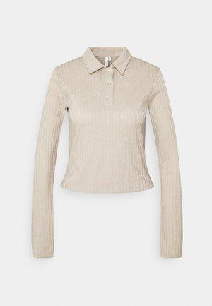 BUTTON UP COLLAR - Polo shirt - beige