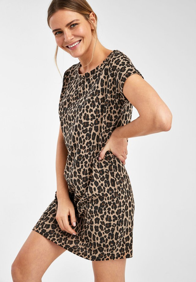 BLACK JERSEY BOXY T-SHIRT DRESS - Day dress - light brown