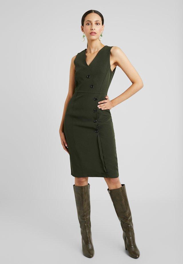 V NECK BUTTON DRESS - Tubino - olive
