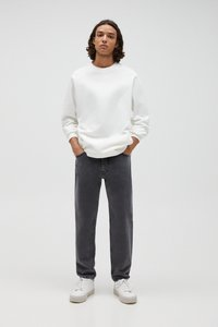 PULL&BEAR - Straight leg jeans - mottled light grey - 1