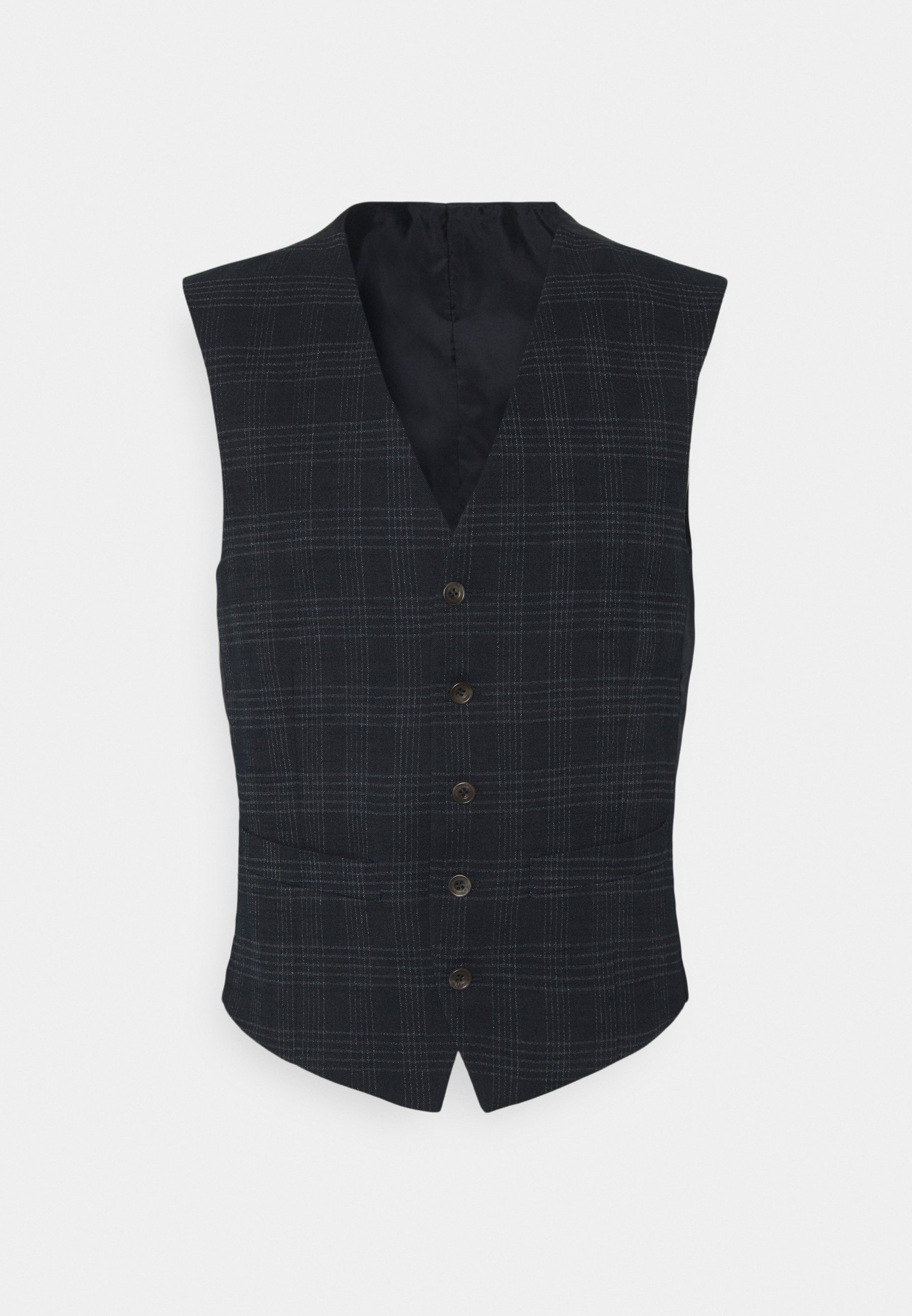 Men TEXTURED CHECK VEST - Waistcoat