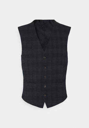 TEXTURED CHECK VEST - Vesta - navy