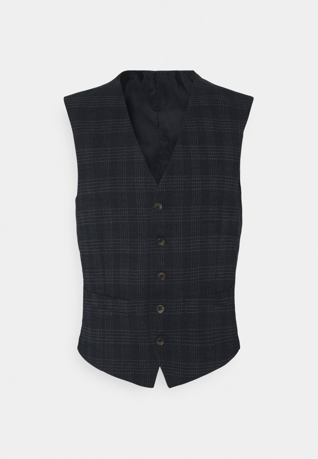 TEXTURED CHECK VEST - Veste - navy
