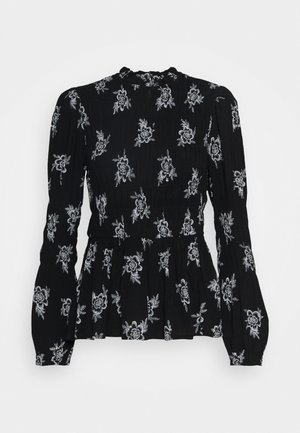 SHIRRED BODY LONG SLEEVE BLACK FLORAL TOP - Blouse - black