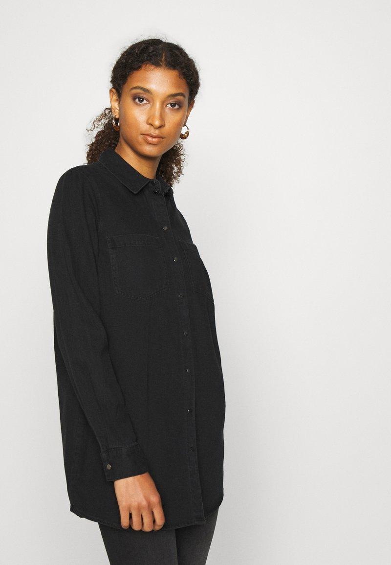 Vero Moda - VMMILA LONG - Button-down blouse - black