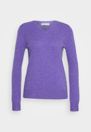 V NECK - Sweter - iris heather
