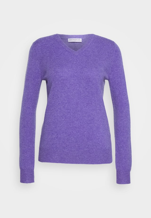 V NECK - Stickad tröja - iris heather