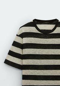 Massimo Dutti - GESTREIFTES SHIRT AUS REINER - Print T-shirt - black - 4