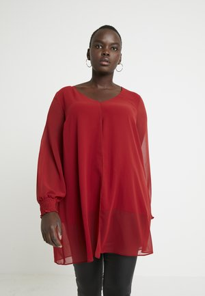 SPLIT FRONT SHIRRED CUFF - Blouse - red