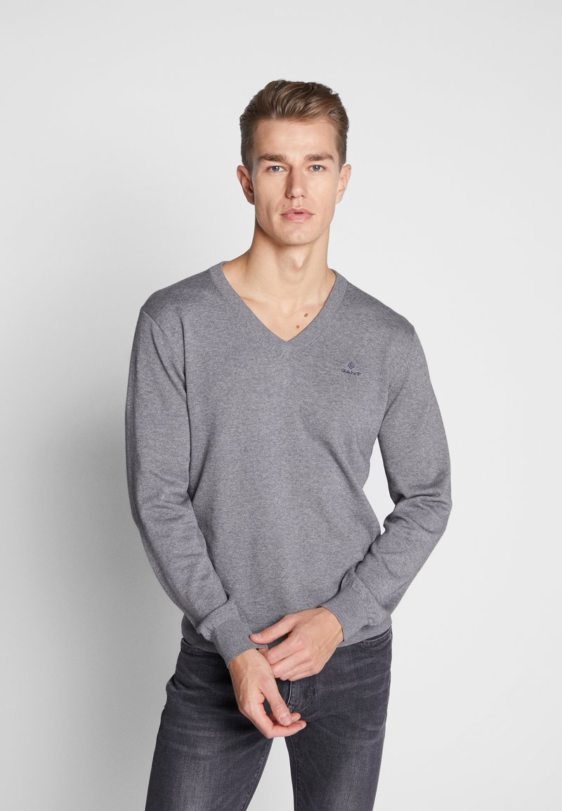 GANT - CLASSIC COTTON V-NECK - Jumper - dark grey melange