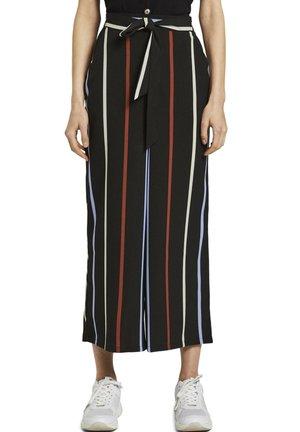 HOSEN & CHINO CULOTTE HOSE MIT BINDEGÜRTEL - Trousers - black blue rust stripe