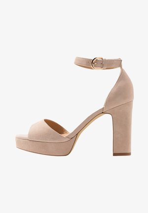 LEATHER HIGH HEELED SANDALS - Sandaletter - nude