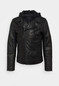 PERF - Kožená bunda - black