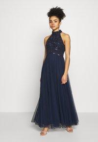 Dorothy Perkins Petite - ELEANOR ENAMEL BEADED HALTER MAXI DRESS - Occasion wear - navy - 1