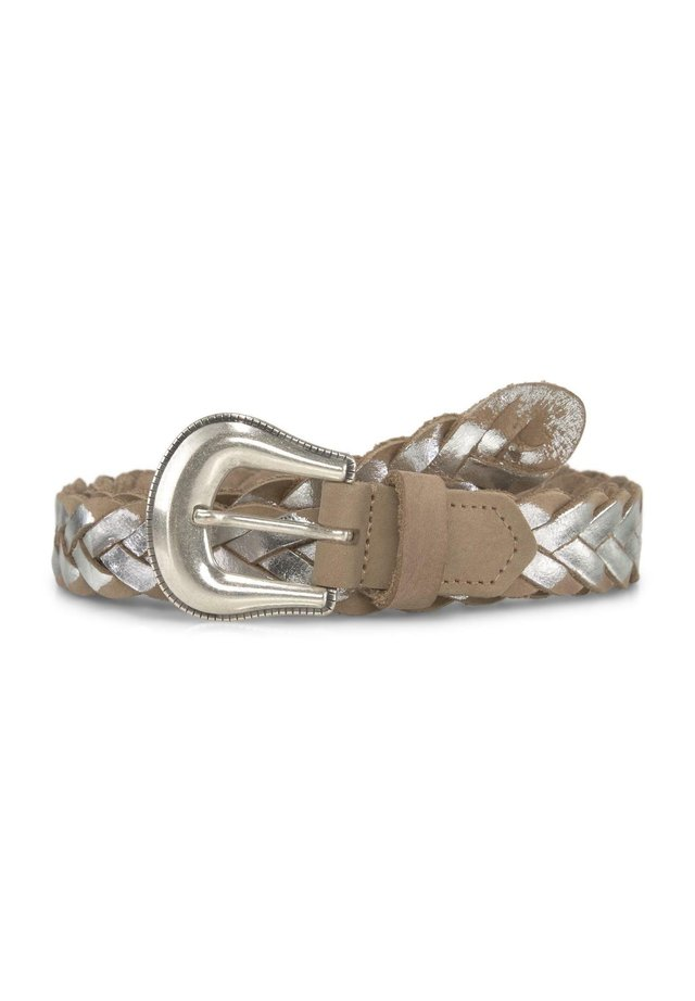 Braided belt - camel-silver