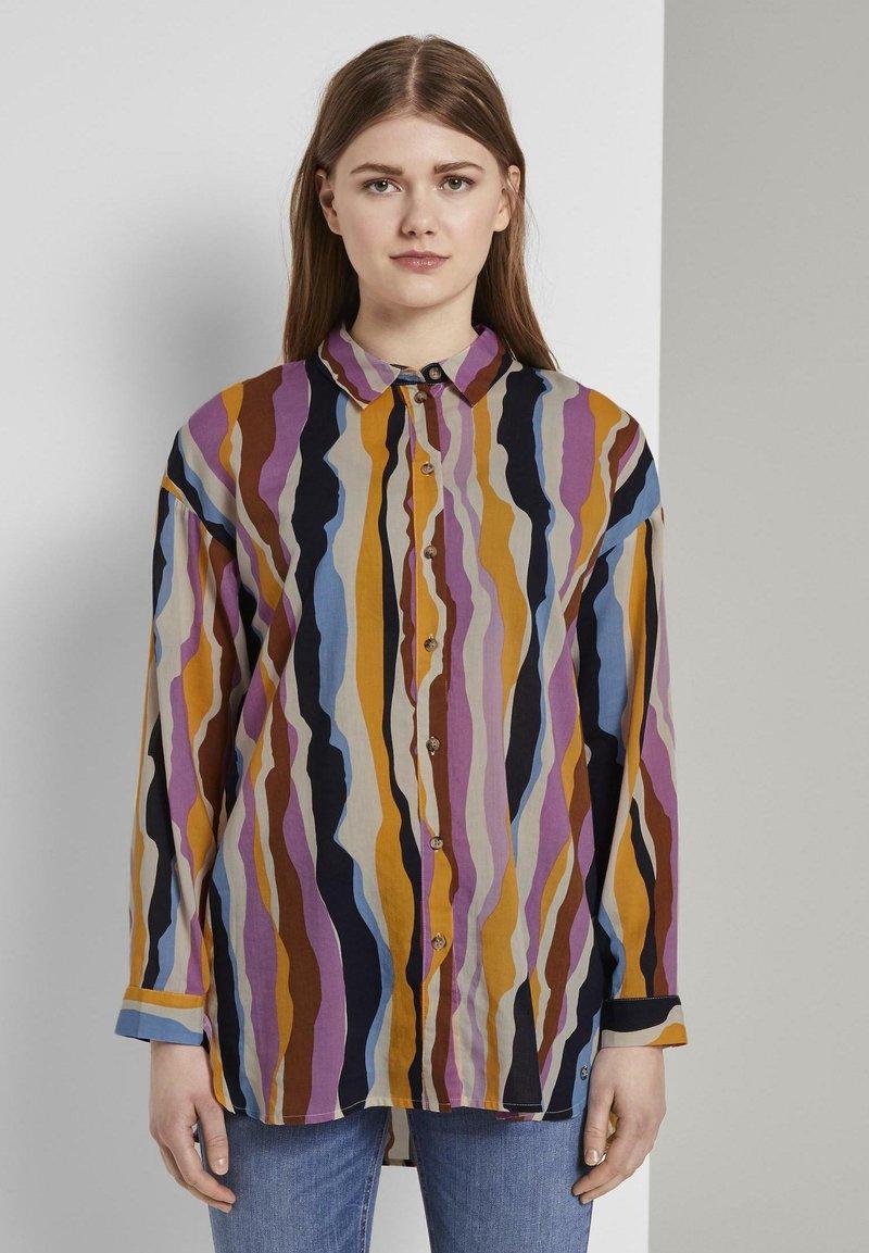 TOM TAILOR DENIM - Overhemdblouse - wavy multicolor stripes
