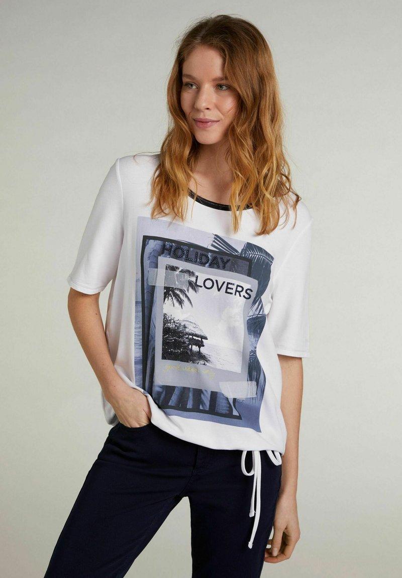 Oui - Print T-shirt - optic white
