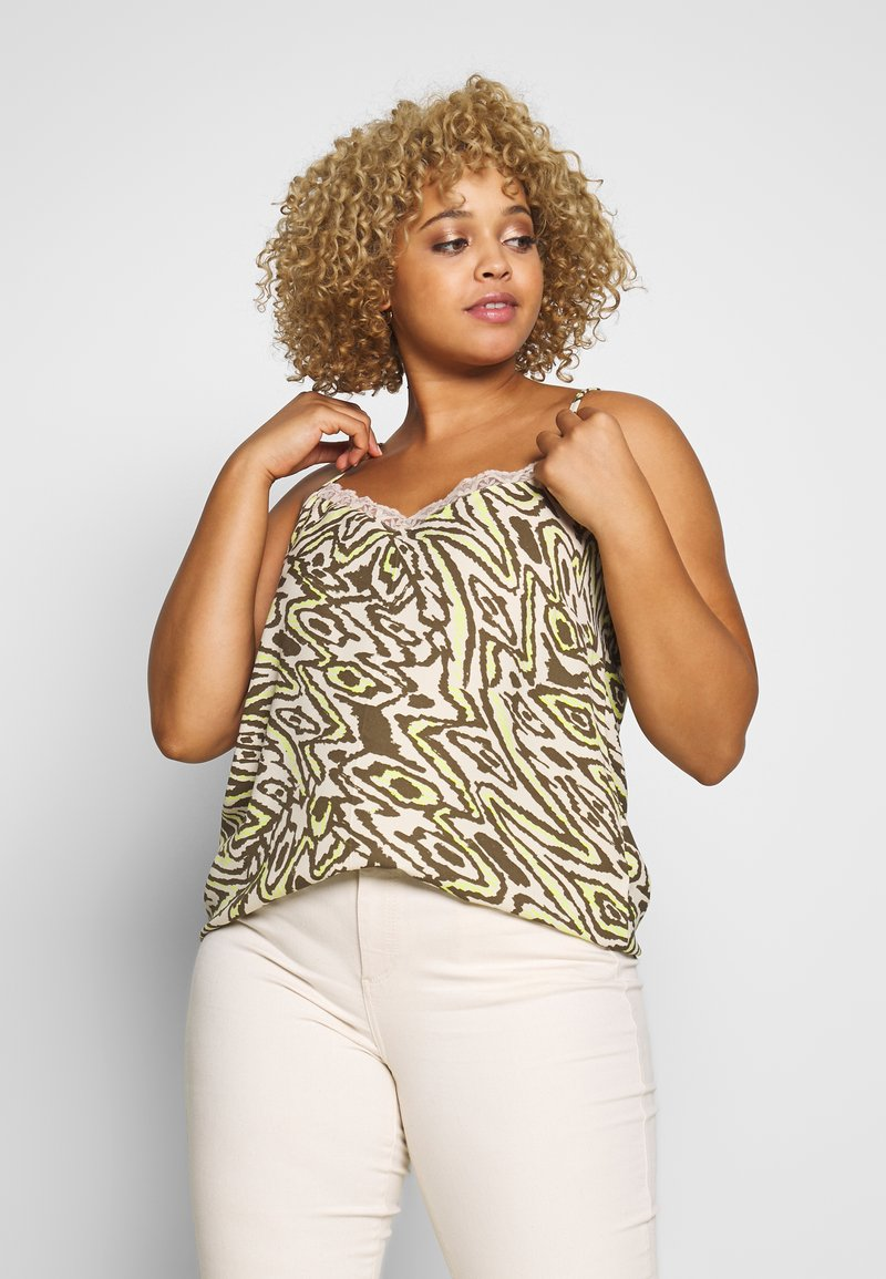 ONLY Carmakoma - CARTRIPLE SINGLET - Blouse - oatmeal