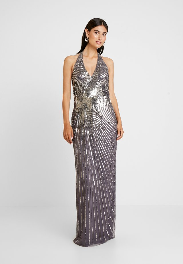 BEADED HALTER GOWN - Robe de cocktail - moonscape