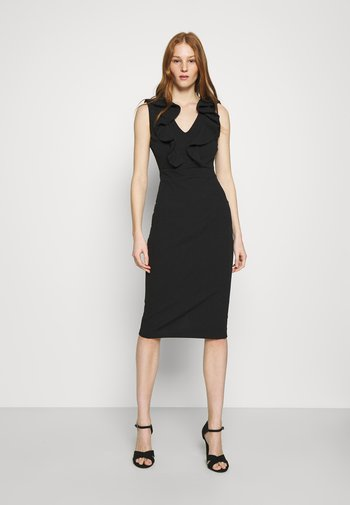 KIRA RUFFLE NECK MIDI DRESS - Vestido ligero - black