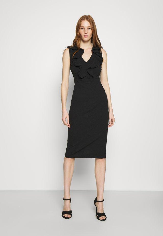 KIRA RUFFLE NECK MIDI DRESS - Žerzejové šaty - black