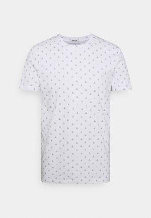 ALLOVER PRINTED - Print T-shirt - white/blue
